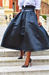 Tea Length Taffeta Black Skirt Without Sash Autumn Winter Women Skirts A Line Zipper Waist Ready To Wear Bust Skirt Party Cocktail Gown
