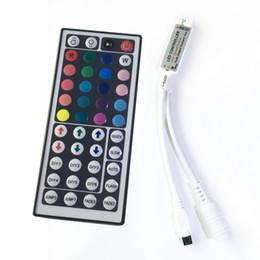 Wholesale 44 Keys LED IR RGB mini Controler For RGB SMD LED Strip LED Lights Controller IR Remote Dimmer Input DC5V V24V A DHL