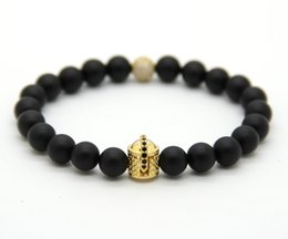 Wholesale 8mm Real Natural Matte Agate Stone Beads with Micro Pave CZ Ball Beads, Double-face Spartan Helmet Bracelets