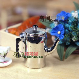 Wholesale Dollhouse Miniatures Silver Tea Kettle Doll Model Teapot for Dollhouse Dining Room and Kitchen