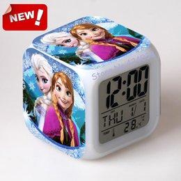 Wholesale Hot sales NEW Digital Alarm Clock Elesa Anna Olaf Cartoon Alarm Glowing Led Color Change Moodicare Clocks Alarm Temperature