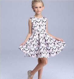 Wholesale Baby Girls New Style Dress Three Colors A line Printed Dress Children Party Dress Kids Princess Beautiful Dress White Pink White
