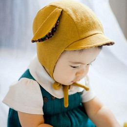 Wholesale Baby Peaked Cap Toddle Infant Newborn Caps Earflaps Hats for Baby Girls hats with Ear decoration Winter