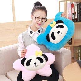 Promotion oreillers panda en peluche 40CM New Style Panda Star Peluches Peluches Panda Head Pillow Soft coussins en peluche en peluche jouets pour enfants