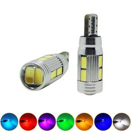 LEEWA 2pcs High Power T10 W5W 194 168 10SMD 5630 LED Canbus Error Free Car LED Light Bulb With Lens #1265