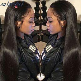 Compra Online Peluca recta sin cola peruana llena del cordón-Straight Full Lace Pelucas de Pelo Humano Silk Top Glueless Full Lace Wigs Para Negro Mujer Peruvian Hair Silk Base Wigs