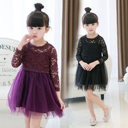 Wholesale Korea Party Fashion - 2017 autumn spring girls lace tulle dress fashion elegant children party dresses cute Korea brand kids dress 2-7y girl clothing