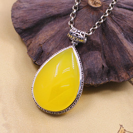 Wholesale Jimei silver S925 silver women s noble atmospheric water shape yellow agate pendant jewelry bag mail