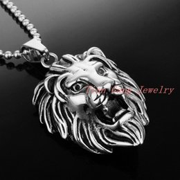 Wholesale Silver Lion Pendants - Fashion Men Jewelry Silver Stainless Steel Domineering Lion Head Pendant Necklace Punk Style Cool Man Accessories
