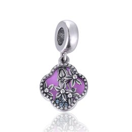 Wholesale Alice in Wonderland Spring Purple Flower Pendant Girl Charms Sterling Silver Fit Pandora Bracelets For Women No50 lw S450