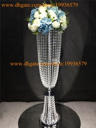 Wholesale Silver Or Gold Tall Glamorous Rose Acrylic crystal beaded Wedding Flower stand Centerpiece table decorations