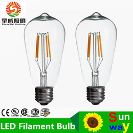 Wholesale ST64 W W W Edison Retro Filament LED Bulb E27 V Dimmable Lamp Antique glass Candle Light Vintage Warm White Energy Saving