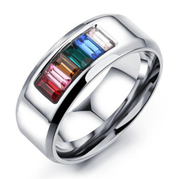 Fashion Rainbow Wedding Engagement Rings For Men Women Wholesale Gay Pride Ring With Cubic Zirconia Stainless Steel