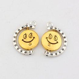 Wholesale Hot Antique Gold Antique Silver Zinc Alloy Smiley face charm pendants DIY Jewelry18 x25mm