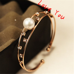Zircon & Pearl Hollow Out Chunky Bangles & Bracelets Party Costume Jewelry 18K Gold Plated Open Bangles Women Accessories
