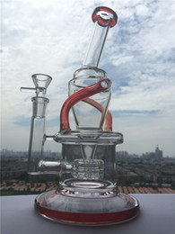Wholesale High end Design Red Accent Wake Bake New Bongs Glass Oil Rigs Incycler Water Pipes With Matrix Stereo