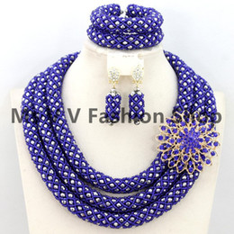 2019 silver royal blue African Beads Jewelry Set Nigerian Wedding African Beads Crystal Bridal Jewelry Set Burgundy Beads Free Shipping