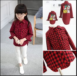 Wholesale 2016 New Mother And Daughter Fashion Shirts Kids Cartoon Mickey Mouse Long Sleeve Shirt Children Plaid Cotton Casual Shirts Big Girl Shirts