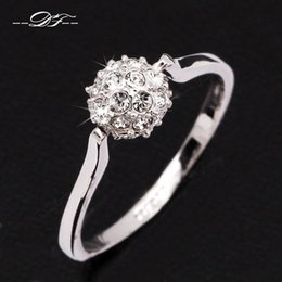 CZ Diamond Crystal Paved Engagement Rings Wholesale 18K Platinum Plated Ball Design Crystal Jewelry For Women anel aneis DFR005