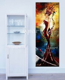 Wholesale hand painted oringinal bar porch office decorations oil painting elegant wine lady ideas pop modern wall canvas painting sexy girls picture