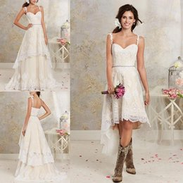 Lace Country Wedding Dresses With Detachable Train High Low Short Bridal Dress Gown Floor length Multi Layers Garden Bohemian Wedding Gowns