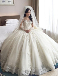 2016 Vintage Lace Wedding Dresses Long Sleeves Lace Applique Ball Gown Bridal Dresses Puffy Scoop Cathedral Train Wedding Gowns