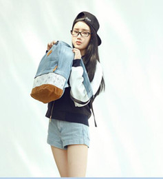 Fashion Floral Lace +Denim Canvas Women Bag Backpack School bag For Teenagers Ladies Girl Back Pack Schoolbag Bagpack