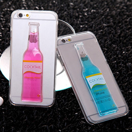 Wholesale Fashion Candy color Cocktail Beer Liquid Quicksand Cup transparent Clear Case Cover for Iphone s splus Sumsung galaxy S6 edge S7 edge