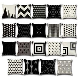 Halloween Christmas Pillow Case Black White Pattern Pillowcase Cushion Covers Cotton Linen Printed Geometry Euro Pillow Covers