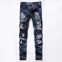 Hot Sale Mens Jeans 2016 New Ripped Elatic Jeans Fashion Designer Biker Jeans Casual Men Clothes Skinny Jeans Slim Fit