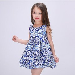 2016 new girls autumn dress Sleeveless princess dress Printing Children's Clothing for party big virgin tutu kids dresses 3t-9t