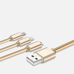 Wholesale 3In1 Charger Cables Aluminum Copper Micro USB Andorid Lightning Window Phone System Type C Cell Phone Nylon Sync Data Cables