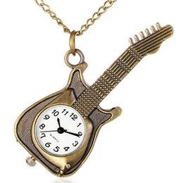 Wholesale GR Vine Guitar Bronze Pocket Watch Pendant Necklace Retro Antique Alloy Necklace Sweater Chain