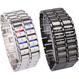 New Lava Style Iron Faceless Binary LED Wrist Watches for Man Clock Military Watches Relojes Black Silver
