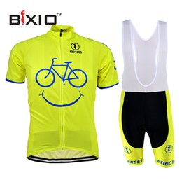 Wholesale BXIO New Comming Cycling Jerseys Yellow Smile Mountain Bike Clothes Short Sleeve Quick Dry Cycling Sets