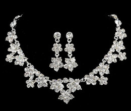 Wholesale 2016 New Amazing Shinny Bridal Jewelry Rhinestone Crystal Luxury Necklace Earring Jewelry Set For Wedding Party Evening Cheap In Stock
