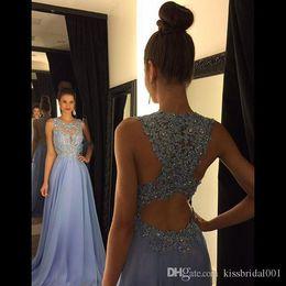 Lavender 2017 Evening Dresses Lace Applique Beads Formal Long Bridesmaid Dresses A Line Crew Neck Chiffon Party Gowns Red Carpet Dresses