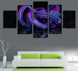 2016 New 5pcs Purple Abstract Line Print Oil Painting On Canvas Home Decoration Home Decor On Canvas Hotel Decoration Painting Free Shipping
