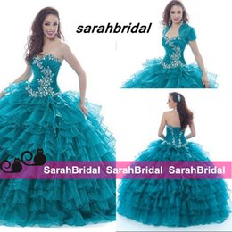 Wholesale Hot Sale Wonderful Ball Prom Gowns Sweetheart Floor Full Length Crystal Corset Detail Long Quinceanera Dresses With Jackets