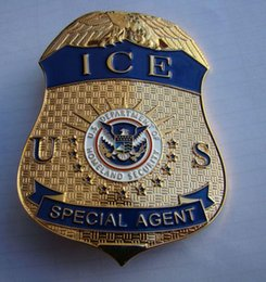 Wholesale Replica police cop metal badge high quality US homeoland department ICE SPECIAL AGENT DEA transportation security metal badge