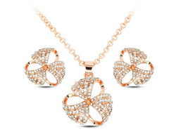 Flower Necklace Earrings Jewelry Set Simple Temperament Fashion Jewelry Set Top Quality Crystal Necklace Set For Women 2016071