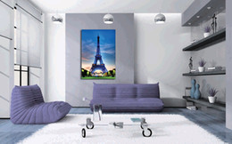 unframed Free shipping 1 Piece Home decoration art picture Canvas Prints Eiffel Tower Cartoon flower lovers tea Dandelion Bicycle house