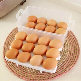 Wholesale Camping Food Containers - Good 24 x 16 x 10.5cm Contain 24 pcs eggs Egg container double layer plastic eggs storage box egg holder camping plastic
