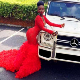 Sexy Deep V Neck South Africa Prom Dresses 2K16 Red Lace Long Sleeve Feather Mermaid Evening Gowns Dubai Arabic Formal Dresses Vestidos