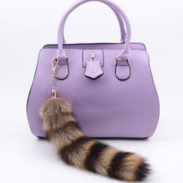Wholesale Fox Tail keychain plush fur Keyring Tail Rabbit Long cm Lucky Charm Faux Fur Cute Soft Fluff Handbag Charms car keychain pendant gifts