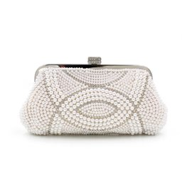 Wholesale 2016 European and American high grade pearl beaded diamond evening bag dinner hand bag bride bag