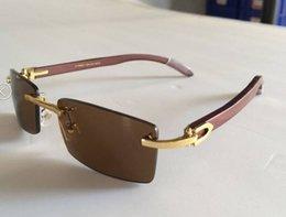 Wholesale Men Women Rimless Wood Glasses Brand Designer Buffalo Horn Sunglasses Wooden Frame Black Clear Lens Lunettes De Soleil De Marque