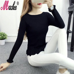 Women Knitwear Sweater Pullover Wholesale 2017 New Korean Fashion Winter Knitted Thin Long Sleeve Slash Neck Solid Slim Jumper Tops