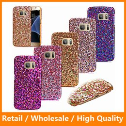Wholesale 2016 Newest Glitter Hard PC Case Bling Veneer Gluding Leather Shiny Sparkle Skin Rhinestone Diamond Cover for Galaxys7 s7edge iPhone6s LG G5
