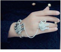 Wholesale Crystal Elephant Cuff Bracelet - Vintage Silver Elephant Carved Exaggeration Bracelets Women Bangles Jewelry Cuff Bracelets Pour Les Femmes